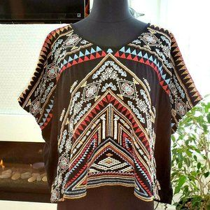 Johnny Was Embroidered Loose Fit Crop Boho Top M